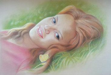 Настоящий портрет пастелью для любимой девушки в Днепропетровске, просто и со вкусом!