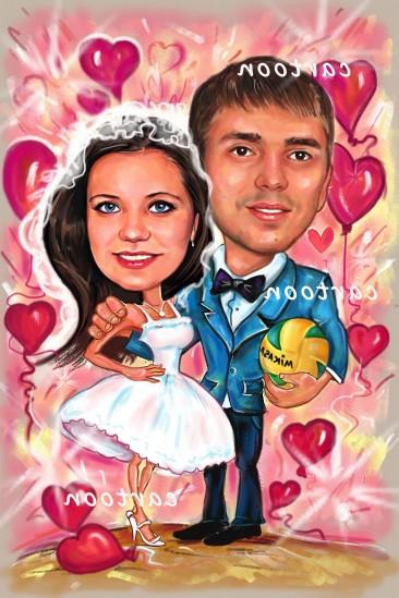 Свадебный шарж с оригинальным сюжетом в Днепропетровске!