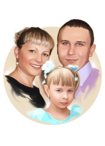 Семейный портрет по фото на холсте в Днепропетровске — правильный подарок!